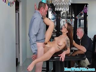 Spex Inked Teen Sensually Blows Grandpa Pov