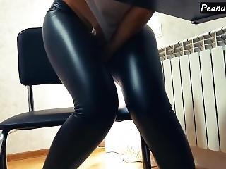 Milf Masturbating At Work With Vibrator In Her Leather Wetlook Pants