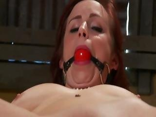 Tied Up Sub Gagged And Teased With Toy From Her Master