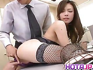 Aiko Hirose In Fishnets Is Fucked With Vibrator And Dicks At Job
