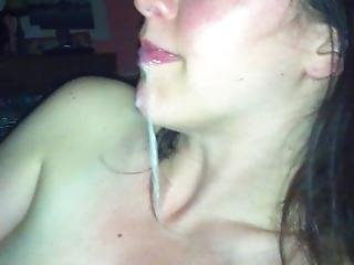 Hot Milf Dribbles Cum From Her Mouth Down Her Chin