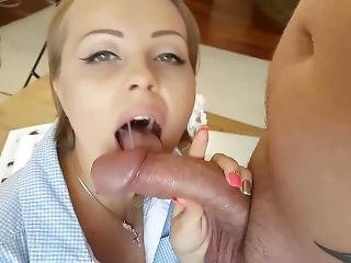 Amazing Blowjob From Blonde Milf - Pov Cum In Mouth And Swallow