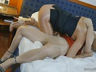 Two Pantyhose Encased Lesbians With Nylon Cunt