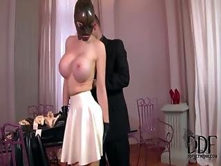 Kinky Submissive Latex Lucy Sucks And Fucks Two Huge Cocks