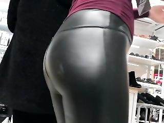 Candid Milf Ass In Leather Pants