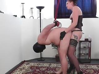 Mistress Makes Man Whimper And Cry While She Fucks Him With Her Strap On
