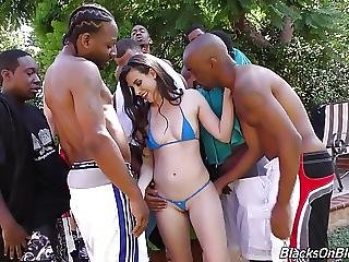 Cute Girl Casey Takes 10 Black Bulls In All Holes