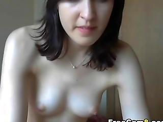 Cute Pale Teen Masturbating On Her Webcam Show