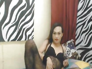 Asian Ladyboy In Sexy Lingerie Masturbation