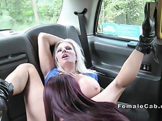 Glamorous Ebony Licks Lesbian Fake Taxi Driver