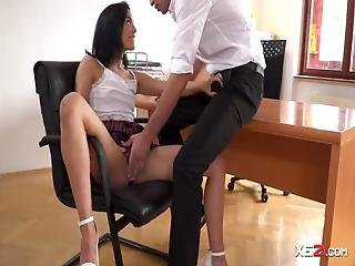Teen Secretary With Small Tits Gets Mouthfucked By Her Horny Boss