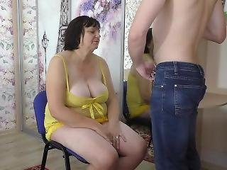 Mom Pleased Her Stepson With A Deep Blowjob And Anal Sex. Mother Big Ass