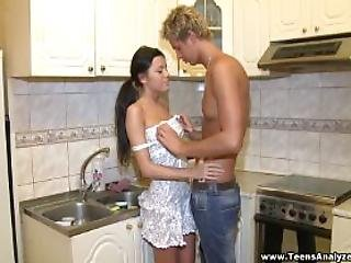 Teens Analyzed Assfucked In A Kitchen