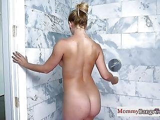 Busty Stepmom Shaves In Shower Before Trio