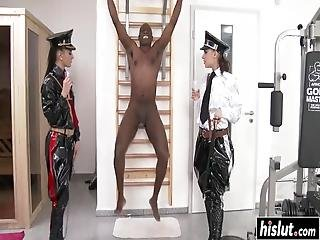 Henessy And Another Girl Enjoy Sucking On A Big Black Cock Together