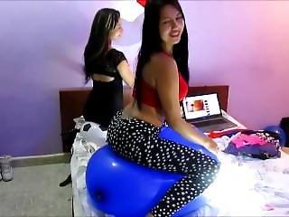 Looner Latinas Riding Balloon