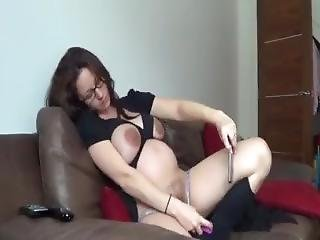 Pregnant Kelly Hart In Lingerie Fucking Her Pussy In