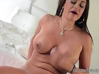 Chesty Bitch Rides A Big Pink Sex Toy
