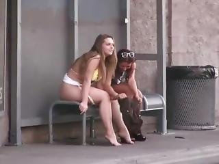Bikini Girl Peeing On A Bus Bench