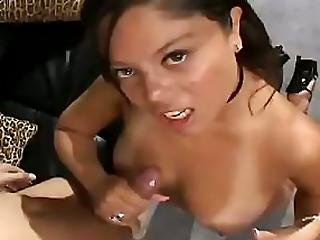 Brunette Squeeze Dick With Voluptuous Breasts