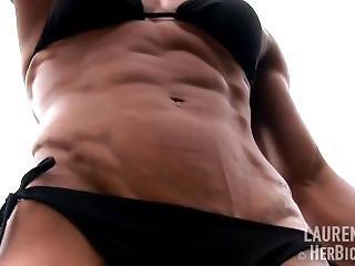 Female Bodybuilder Flexing Vascular Abs