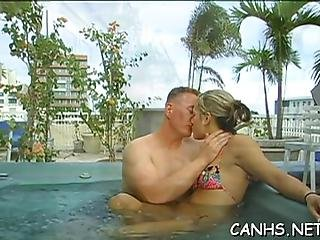 Filthy Pornstar Gladly Starts Sucking Hard Dong After Swimming Pool