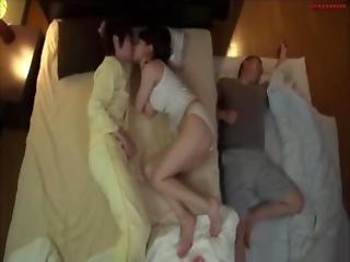 ázsiai, japán, csókolózás, természetes, bugyi, pina, alvás