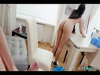 Gorgeous Maid Cleans Naked