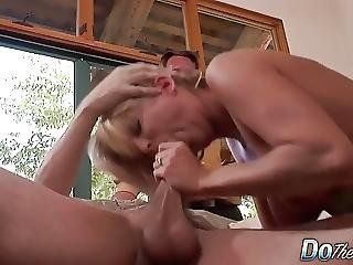 Cougar Sucks Fucks A Stud While Cuckold Watches