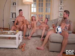 Sexiest Redhead Alive Eva Berger Fucked By Three Studs