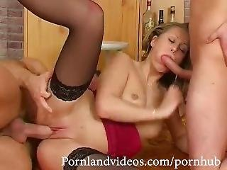 Fmm Threesome Horny Slut Teen Fucking With Two Big Cocks