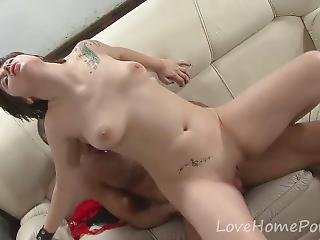 Gorgeous Chick Gets Pleasured On The Sofa