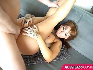 Sexy Aussie Tattooed Babe Takes An Anal Cream Pie