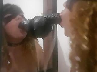 Mirror Dildo Sucking
