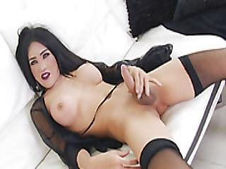 Huge Tits Tranny Jerks Off Her Hard Dick