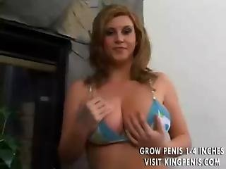 Pretty Girl Models Big Titties Before Bedroom Fuck