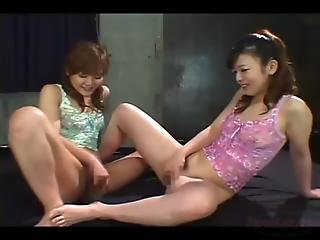 2 Asian Girls With Hairy Pussies Fingering Themselves On Of Them Getting Fisted On The Mattress