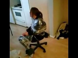 Jessie Saran Wrapped To A Desk Chair