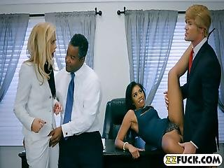 Blonde Mature And Sexy Ebony Foursome Sex On The Desk