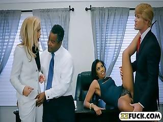blonde, pijp, brunette, bureau, ebbehout kleur sex, met zijn vieren, hardcore, volwassen, oraal, sexy, sex