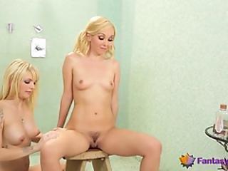 actie, blonde, harig, harige kut, lesbisch, poes, sexy, douche