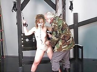 Old Dude Punishes Feisty Brunette In Bondage
