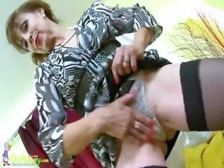 Oldnanny Hot Mature Lady Solo Masturbation Showoff