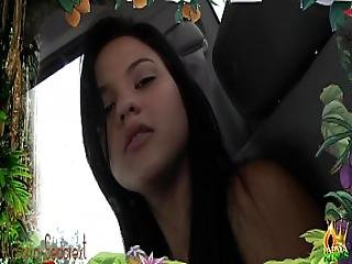 Hot Brunette Teen Shows Her Big Tits And Round Ass In The Car