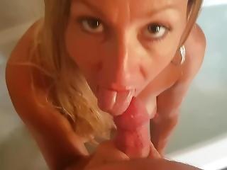 Hot Milf Sucking Cock From The Bathtub Pov