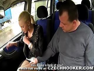 Blonde Eastern Hooker fucked in a car