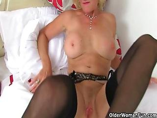 British Milfs Molly And Diana Masturbate In Black Stockings