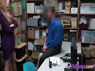 Redhead Friends Are Busted Stealing By Horny Officers With Huge Cocks