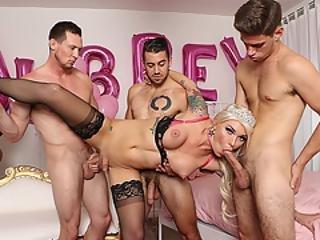 Hot Busty Ts Aubrey Kate Enjoys Foursome With Big Cocks