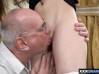 Grandpa Licks And Fucks Tight Body Brunette Teen Hottie